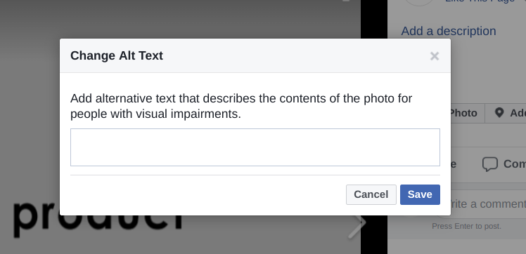Screenshot of Facebook's text editor window for adding alt text to your images.