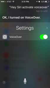 Screenshot of using Siri to activate the VoiceOver setting on an iPhone