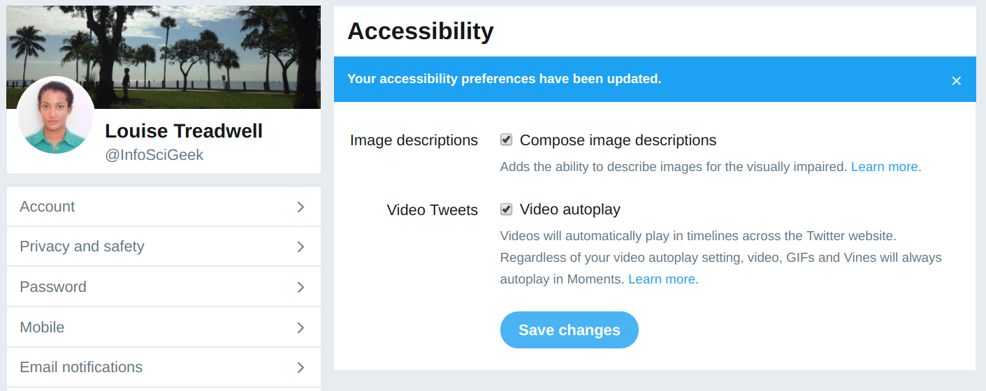 Screenshot of Twitter's accessibility settings screen with options for activating image descriptions and video autoplay.